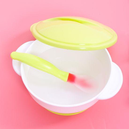 Bát ăn kèm thìa nhựa có đế hút chân không cho bé