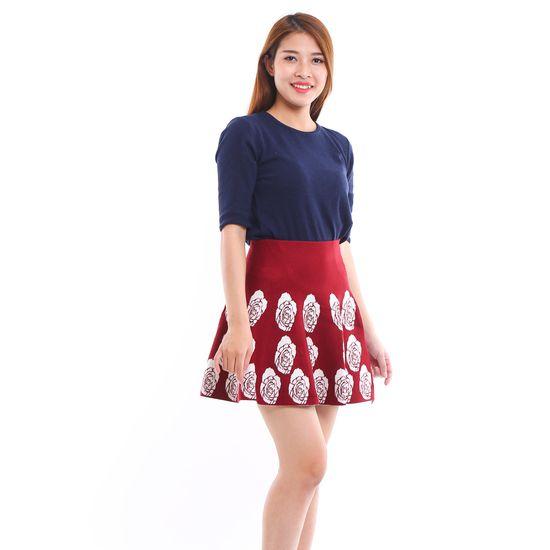Chân váy len họa tiết dáng xòe trẻ trung