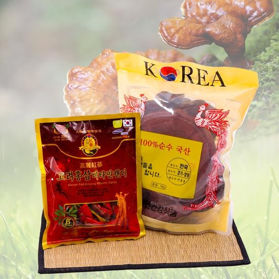 Nấm linh chi đỏ cao cấp Hàn Quốc tặng kẹo hồng sâm
