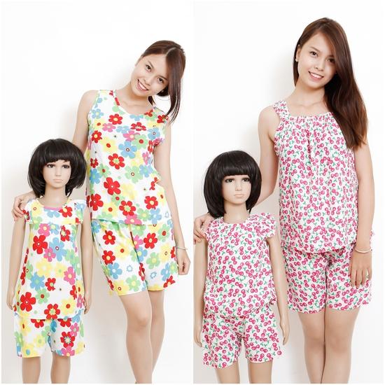 combo 2 bộ quần áo vải lanh cho mẹ và bé