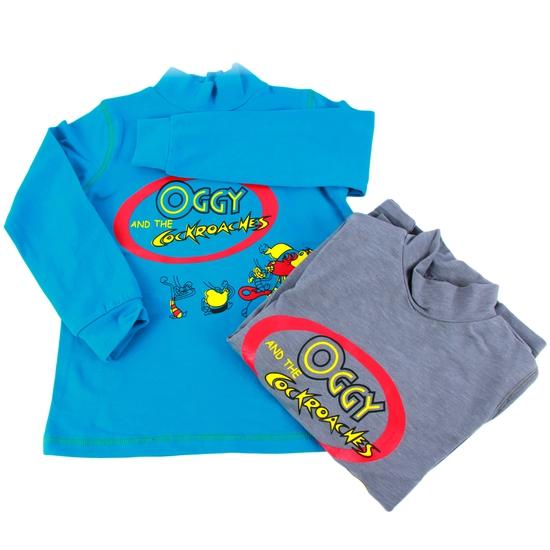 Combo 2 áo cotton cổ lọ mèo Oggy cho bé trai