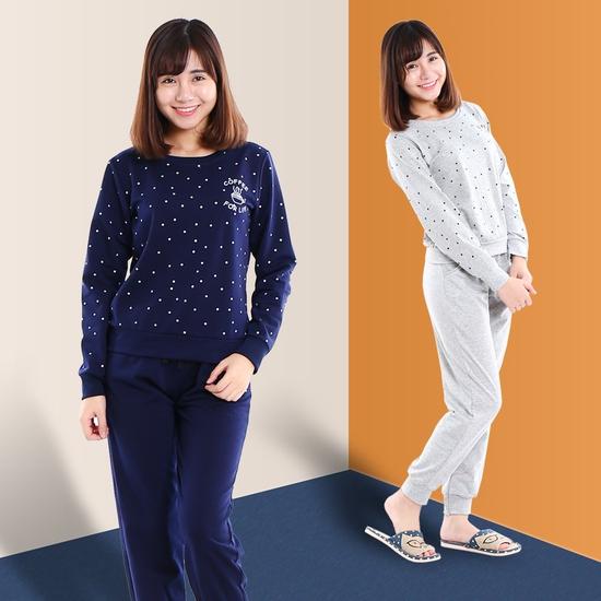 Bộ mặc nhà chấm bi xinh yêu cho mùa thu đông