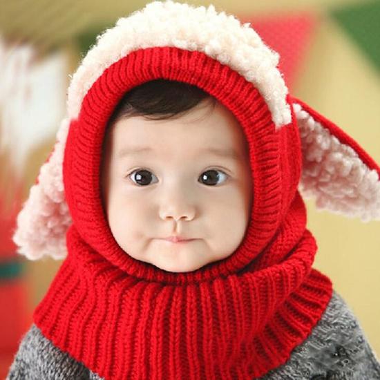 Mũ len tai cừu có cổ siêu ấm cho bé yêu