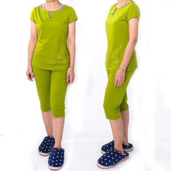 Bộ mặc nhà cotton dây buộc cổ áo nhiều màu-hàng VN