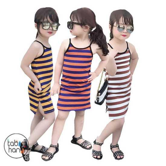 Combo ba váy kẻ 2 dây vải cotton 4 chiều C3QATE73 cho bé gái