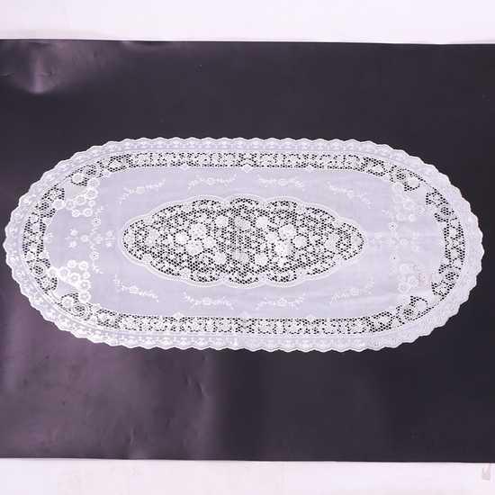 Khăn trải bàn dập hoa nổi (Trắng 50x110cm)