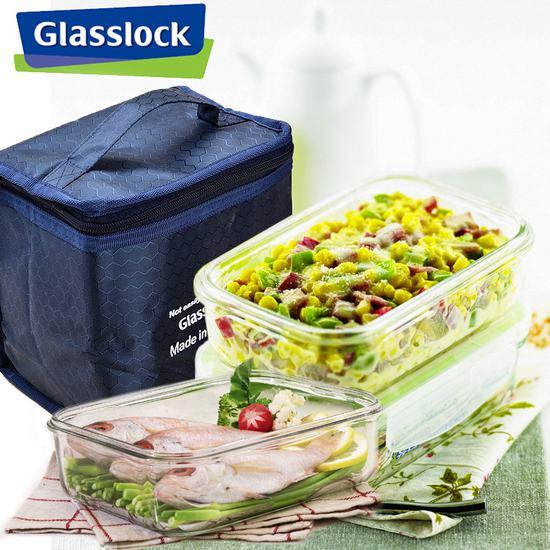 Kết quả hình ảnh cho Bộ 02 hộp thủy tinh Glasslock 400ml + túi giữ nhiệt