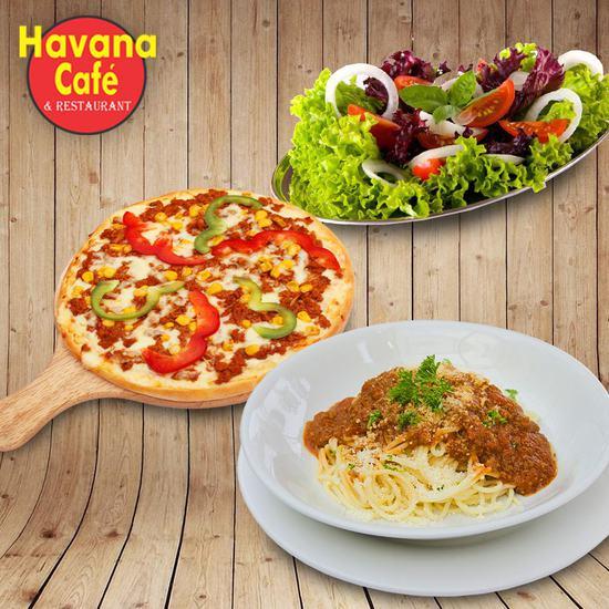 Pizza Hawaii cỡ vừa, mỳ Ý bò băm tại Havana Cafe