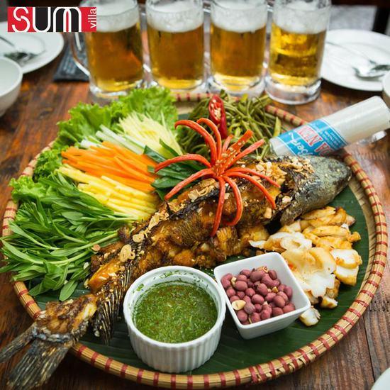 Set mẹt cá nướng 4 người tặng bia tươi - SUM VILLA