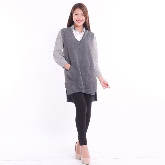 Áo len gilê dáng dài thời trang cho bạn gái