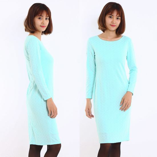 Váy công sở dài tay Thu - Đông chất thun xốp