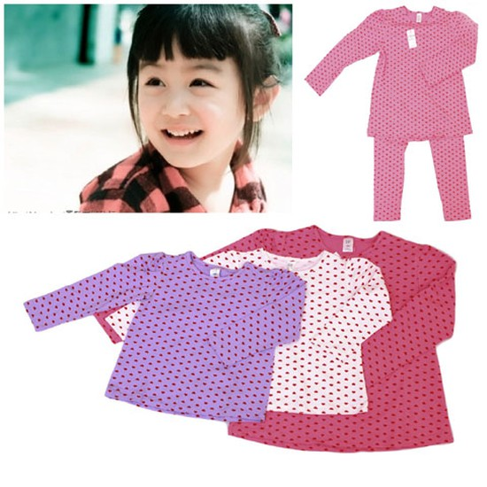 Bộ quần áo cho bé gái hình tim chất liệu cotton co giãn