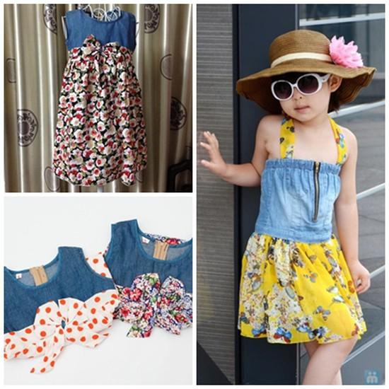 Váy denim pha lanh cho bé gái