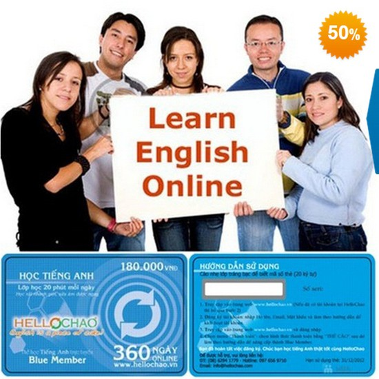 Thẻ học tiếng Anh trực tuyến HelloChao.vn cho 360 ngày, tặng thêm 01 thẻ học 180 ngày - Chỉ 100.000đ