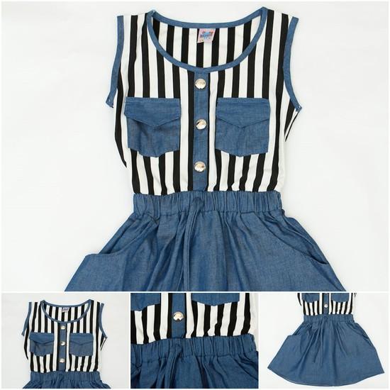 váy thu denim cách điệu cho bé gái