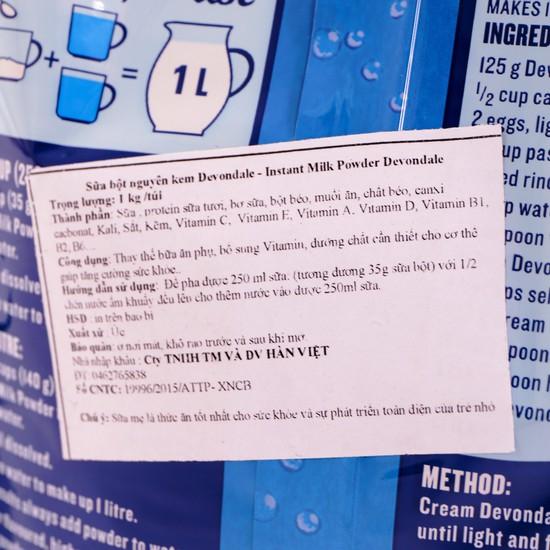 Sữa bột nguyên kem Devondale nhập khẩu Úc gói 1kg