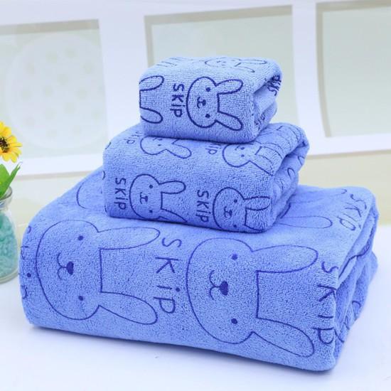 Set 3 khăn nhà tắm sợi cotton mềm mịn cho bé