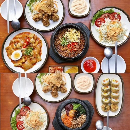 Thưởng thức set ăn Hàn Quốc Nhà hàng Gimbap Shochu