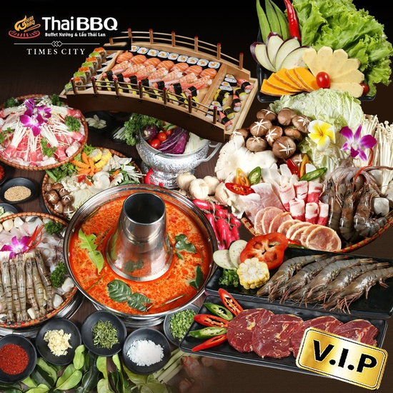 Buffet nướng lẩu menu VIP Thái BBQ Times City