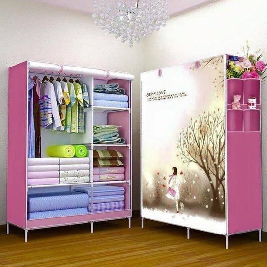 Tủ vải đựng quần áo 2 buồng họa tiết hoạt hình