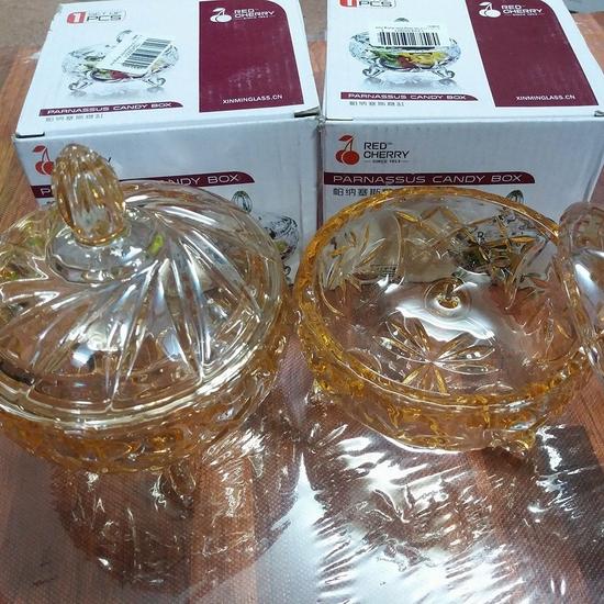 2 hũ thủy tinh đựng mứt vàng (554V)