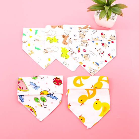 5 khăn yếm tam giác 2 lớp chất cotton mềm mịn
