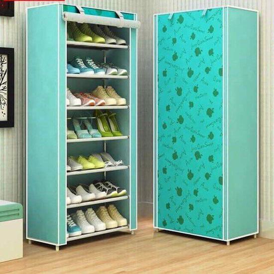 Tủ vải đa năng đựng giày dép, quần áo 7 tầng có họa tiết