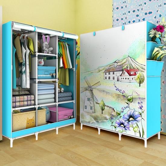 Tủ vải cao cấp 3 buồng 8 ngăn họa tiết 3D đẹp mắt