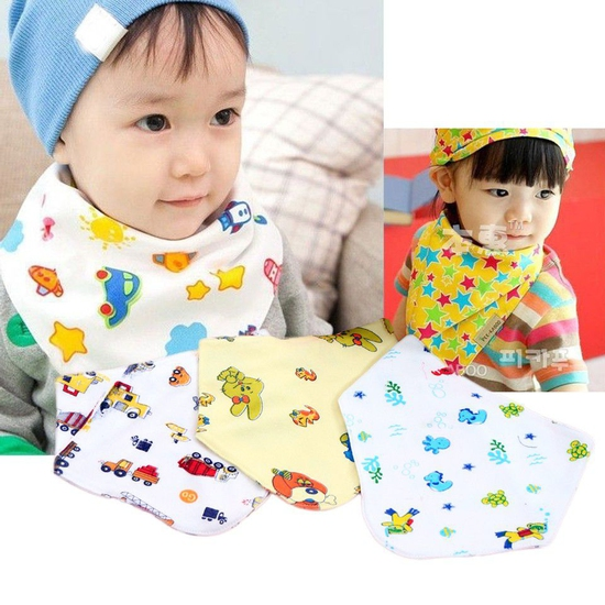 10 khăn yếm cotton có cúc bấm cho bé