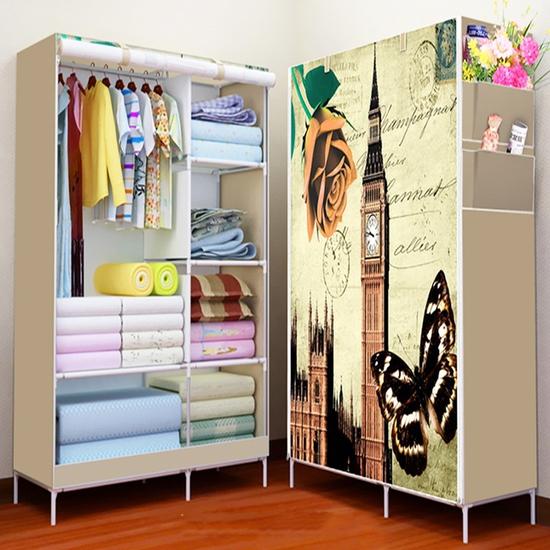 Tủ vải cao cấp 2 buồng 6 ngăn họa tiết 3D đẹp mắt