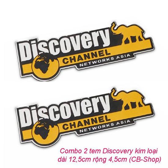 Combo 2 tem dán trang trí ô tô Discovery kim loại (đen phối vàng)