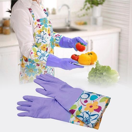 2 đôi găng tay rửa bát cao su lót nỉ không chun