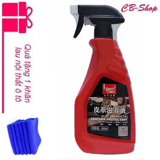 Bình xịt làm sạch ghế da và nội thất xe ô tô (Màu Đỏ) - Tặng 1 khăn lau nội thất ô tô