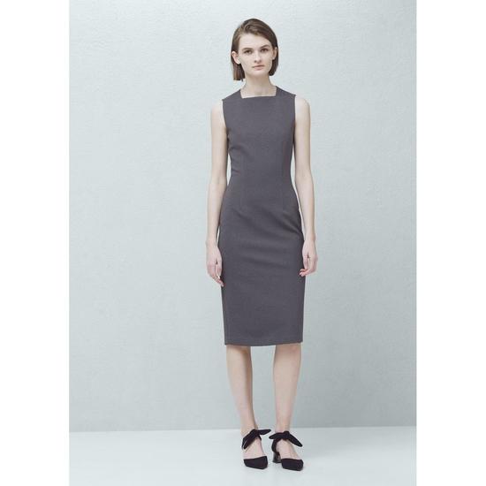 AU115: Váy body tăm cổ vuông hàng chính hãng MANGO sale 70%