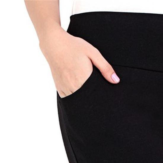 Quần Legging nữ trơn 2 túi xéo (Đen)