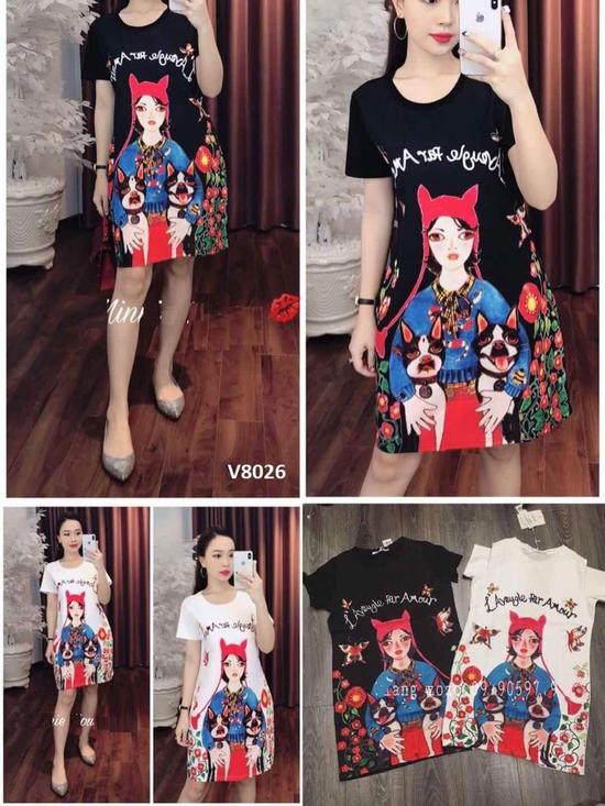 Đầm Suông Họa Tiết Đẹp Cho Bạn Gái - Hàng Quảng Châu