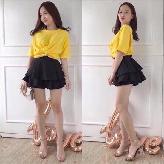 Váy quần xếp ly tầng ngắn sành điệu