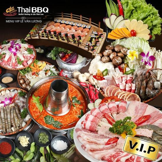 Buffet nướng lẩu Thái BBQ Lê Văn Lương menu VIP