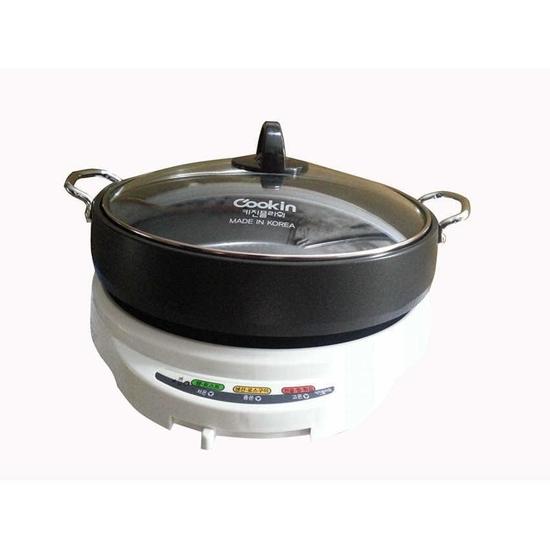 Nồi lẩu và nướng điện Cookin KEP-105 (Trắng phối đen)