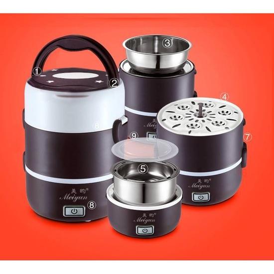 Hộp cơm cắm điện hâm nóng Inox đa năng 3 tầng Meiyun