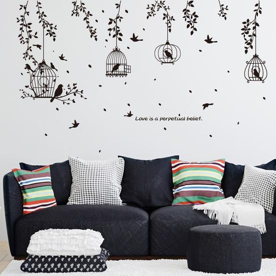 Decal dán tường nghệ thuật ngôi nhà chim love is a perpetual SK7130