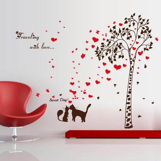 Decal tran trí dán tường tình yêu 2 chú mèo lãng mạng cho bé SK9208