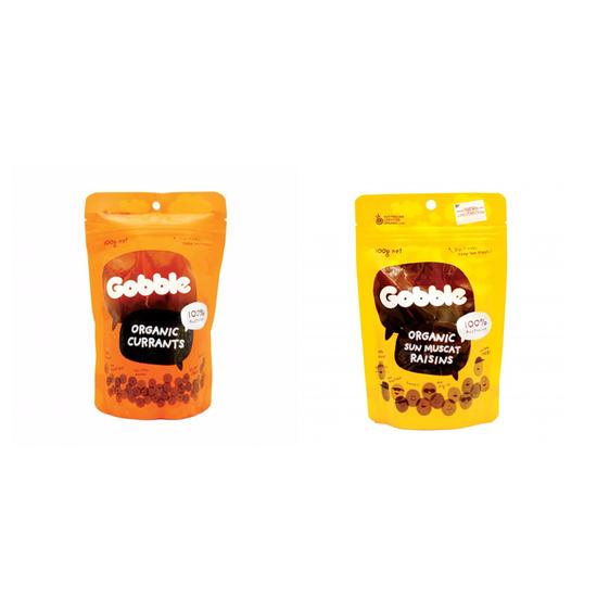 COMBO NHO ÚC- Gobble – Nho hữu cơ Currant túi 100g VÀ Gobble – Nho hữu cơ Muscat túi 100g