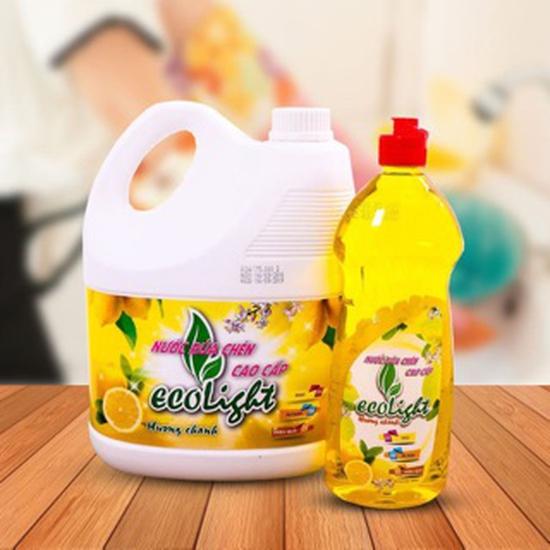 Nước rửa chén hương chanh Ecolight 3.6L + 1 chai