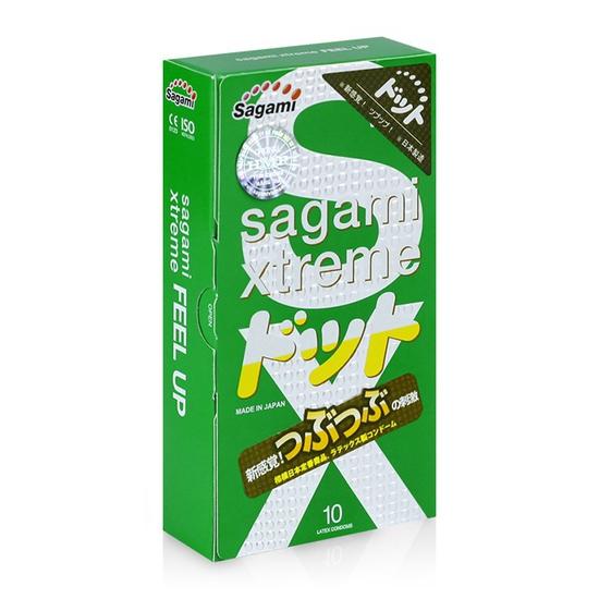 Bao cao su siêu mỏng có gai nổi Sagami Xtreme Green hộp 10 cái