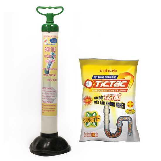 Combo Bơm thông tắc bồn cầu và bột thông tắc cống Tictac 100g