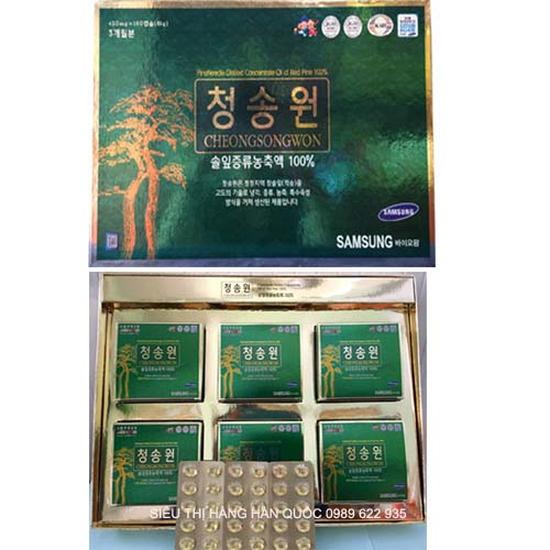 Viên tinh dầu thông đỏ Hàn Quốc Cao cấp Cheongsongwon 180 viên hộp xanh  - Phòng ngừa ung thư tốt
