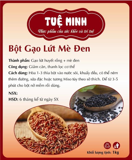 1kg Bột gạo lứt mè đen nguyên chất giảm cân Tuệ Minh