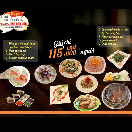 Thưởng thức các món từ Đất Liền - Biển Cả ngon đặc sắc cho 6 người tại Nhà hàng iSteam