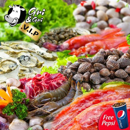 Toàn Hệ Thống Gri & Gri 4 Địa Điểm - Buffet Lẩu Nướng Menu VIP - Tặng Pepsi- Không Phụ Thu